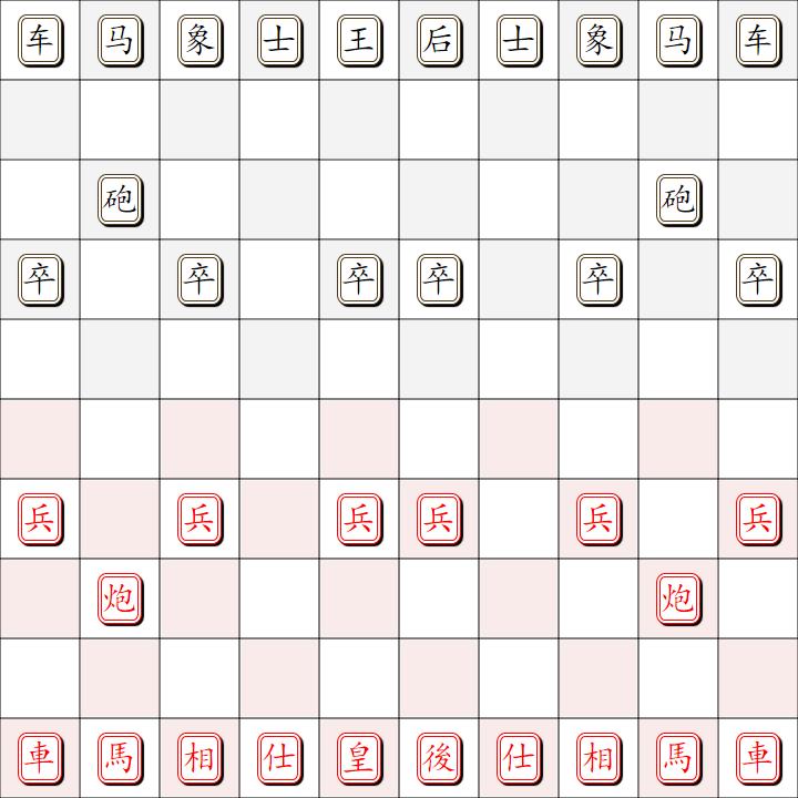 国中象棋示意图 国际中国混合象棋
