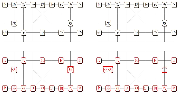 组易象棋-炮的常规组合-示意图