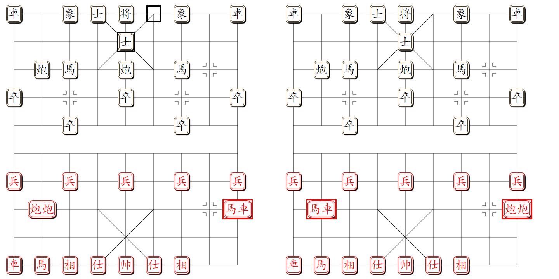 组易象棋-棋子组对棋子组-易位示意图