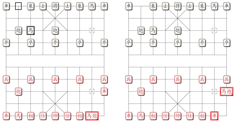 组易象棋-棋子组对棋子-易位示意图